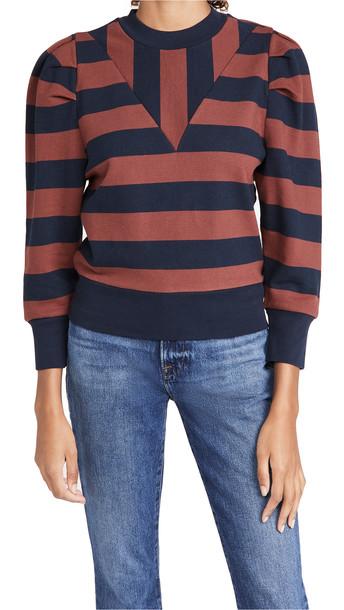 FRAME Rugby Shirred Sweatshirt in multi