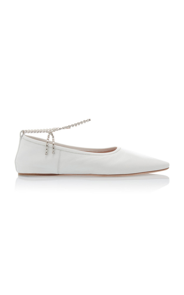 Miu Miu Crystal-Strap Leather Ballet Flats Size: 35 in white