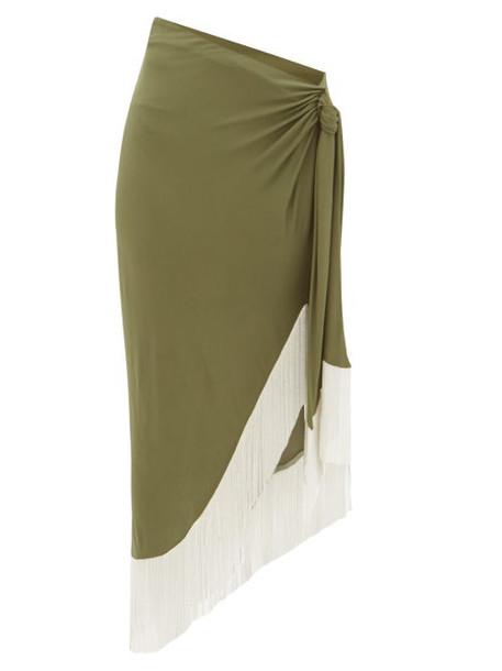 Balmain - Chain-fringed Wrap Jersey Skirt - Womens - Khaki