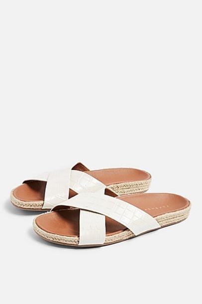 Topshop Rachel White Footbed Sandals - White