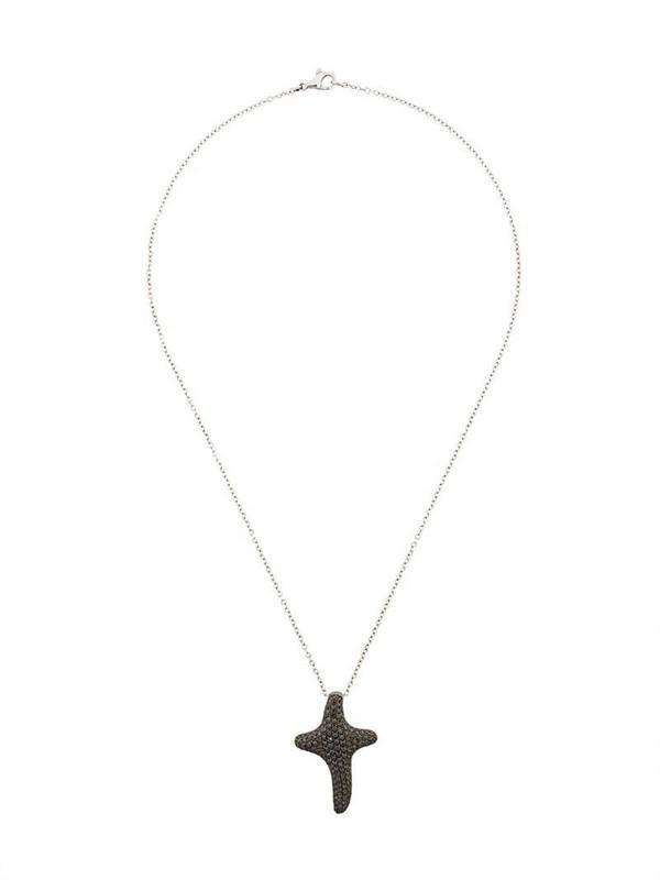 Gavello 18kt white gold diamond cross necklace in metallic