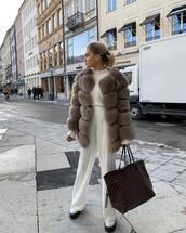 pants,wide-leg pants,white pants,high waisted pants,white shoes,platform shoes,faux fur coat,white sweater,shoulder bag