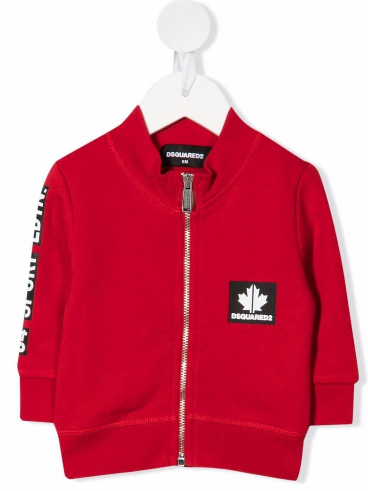 Dsquared2 Kids logo patch zip-up jacket in red