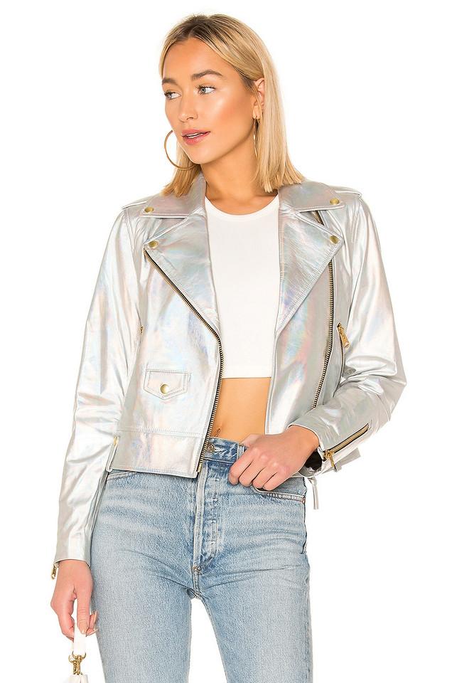 Mackage Baya Cropped Leather Jacket in metallic / silver