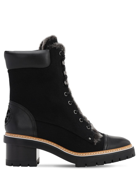 TORY BURCH 60mm Miller Suede & Shearling Boots in black