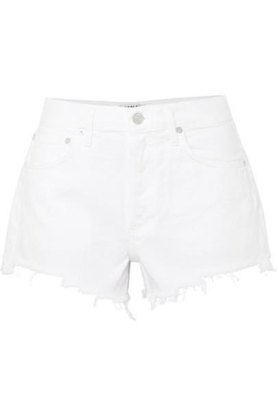 AGOLDE - Parker Frayed Denim Shorts - White
