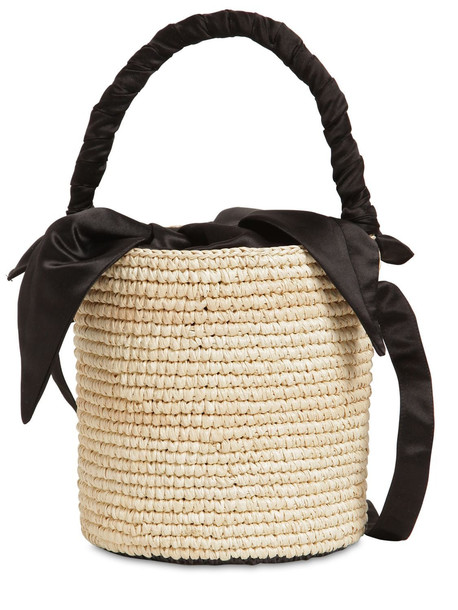 SENSI STUDIO Baby Straw Bucket Bag in black / natural