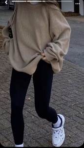 shirt,whole outfit,everything,white undershirt,black bottoms,beige sweater,fall outfits