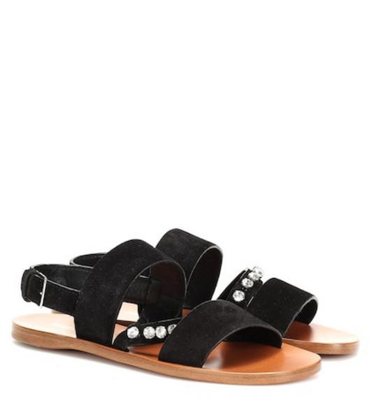 Miu Miu Embellished suede sandals in black