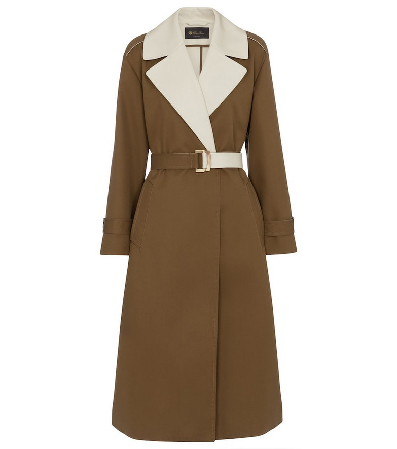 Loro Piana Bowden belted single-breasted coat in brown