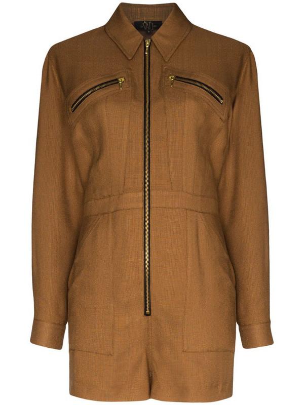 De La Vali Dakota zip-up playsuit in brown
