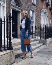 coat,blue blazer,blazer,jeans,denim,shoes