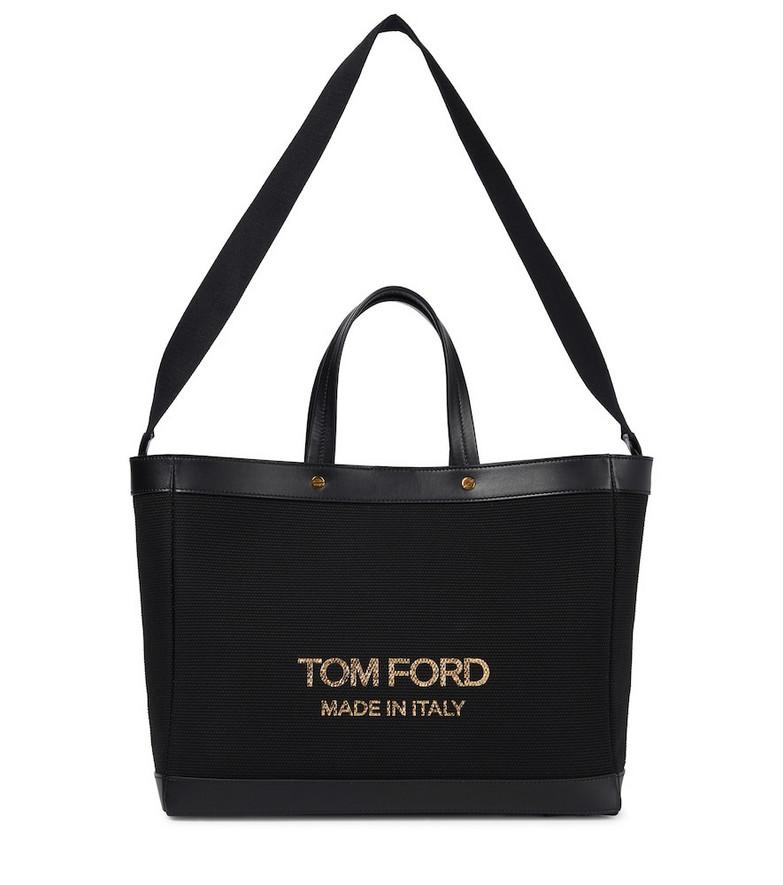 Tom Ford T Screw Medium canvas tote in black