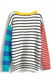 sweater,stripes,red,blue,yellow,multicolor,colorblock