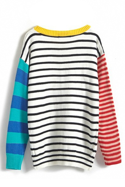 sweater stripes stripes red blue yellow multicolor colorblock