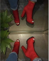 shoes,red,red heels,open toes,heels,red open toe shoes