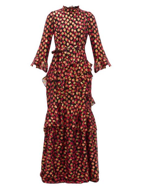 Saloni - Marissa Floral Print Fil Coupé Maxi Dress - Womens - Black Red