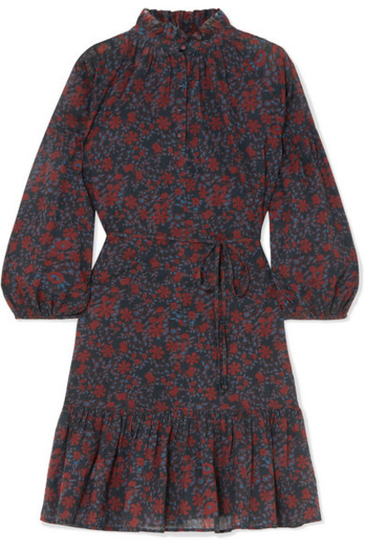 APIECE APART - Victoria Floral-print Cotton-gauze Mini Dress - Burgundy