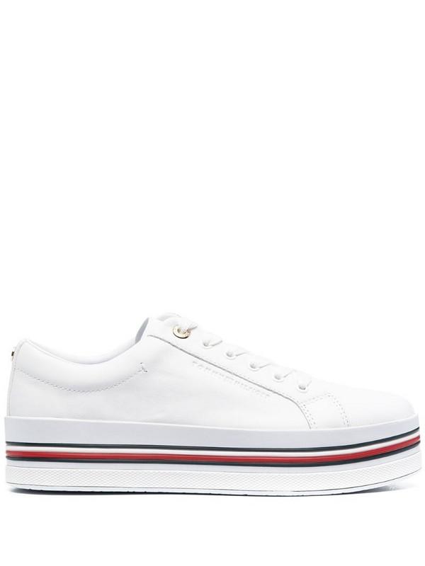 Tommy Hilfiger stripe-print platform sneakers in white