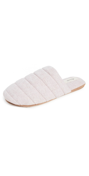 Madewell Quilted Puffy Slippers in rose / multi