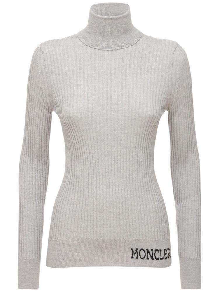 MONCLER Logo Wool Knit Turtleneck Sweater in grey