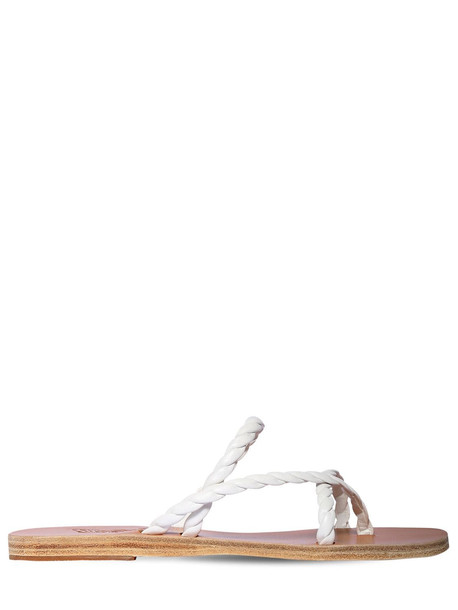 ANCIENT GREEK SANDALS 10mm Leather Thong Sandals in white