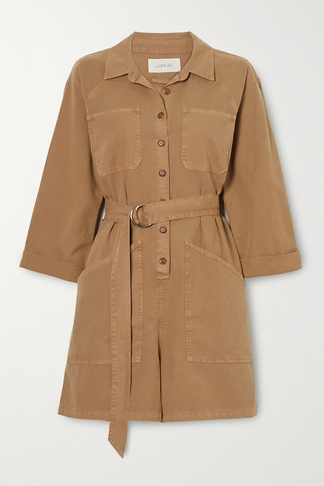 THE GREAT. THE GREAT. - The Short Belted Pleated Cotton Playsuit - Neutrals