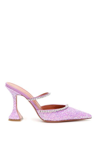 Amina Muaddi Glitter Gilda Mules in purple