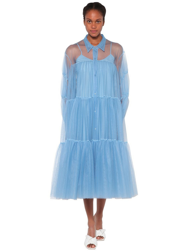 BROGNANO Ruffled Shirt Tulle Midi Dress in blue