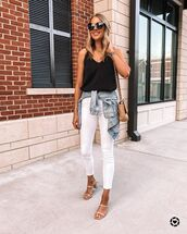 top,black top,tank top,white jeans,skinny jeans,sandal heels,denim jacket,bag