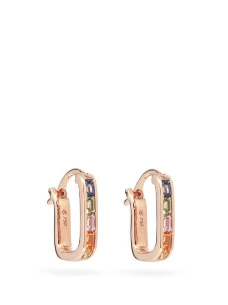 Raphaele Canot - Sapphire & 18kt Rose-gold Hoop Earrings - Womens - Multi
