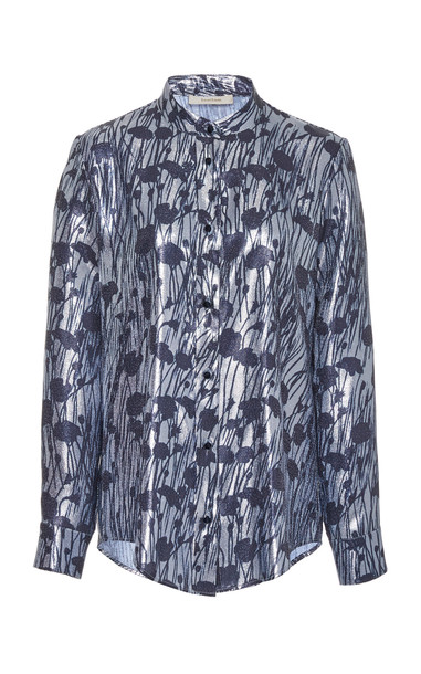 SemSem Printed Lamé Top Size: 0 in blue