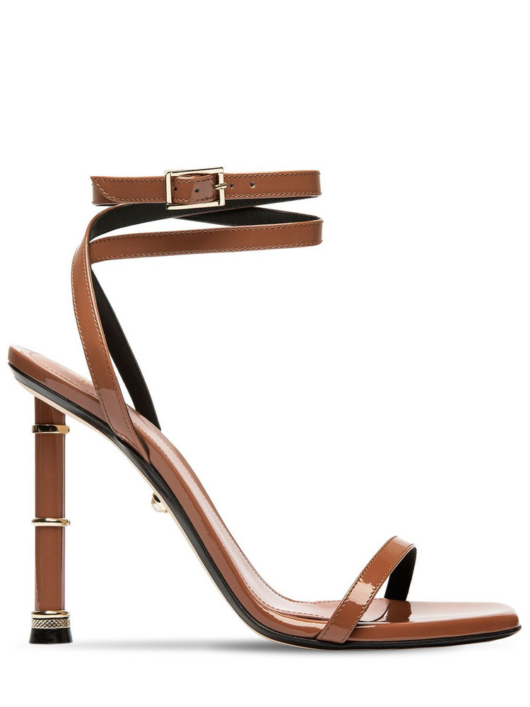 ALEVÌ 110mm Melody Patent Leather Sandals in tan