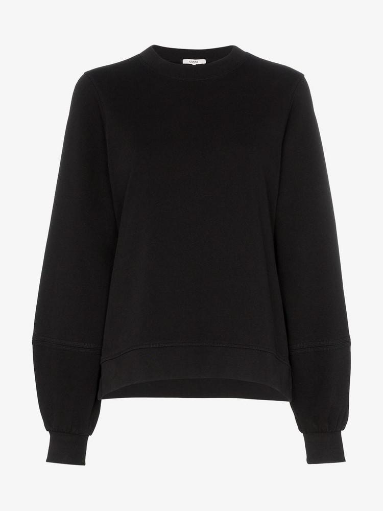 Ganni Balloon sleeve knitted cotton jumper in black