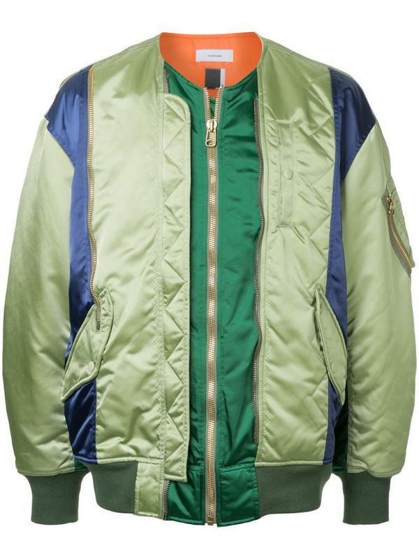 Facetasm panelled bomber jacket in green