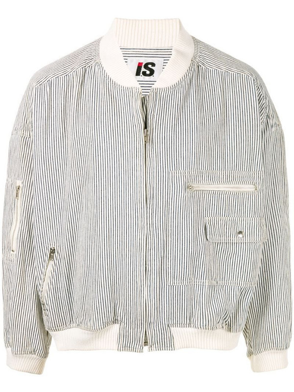 Issey Miyake Pre-Owned 1980's Sports Line striped bomber in white