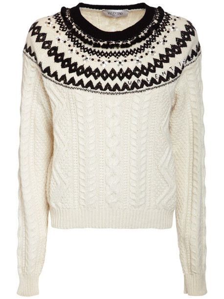 VALENTINO Embroidered Wool Knit Sweater in ivory