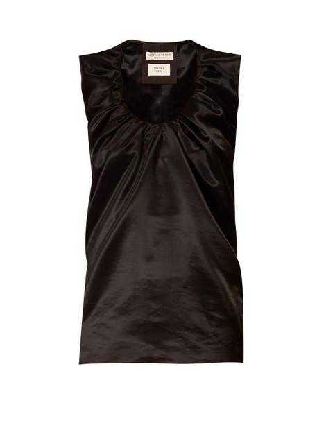 Bottega Veneta - Gathered Scoop Neck Satin Top - Womens - Black