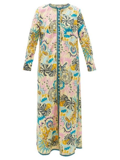 Le Sirenuse, Positano - Cappa Psycho-print Cotton Maxi Dress - Womens - Yellow Multi