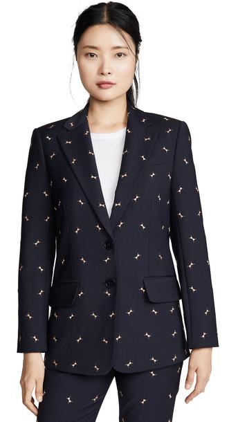 Tibi Embroidery Blazer in navy / camel / multi