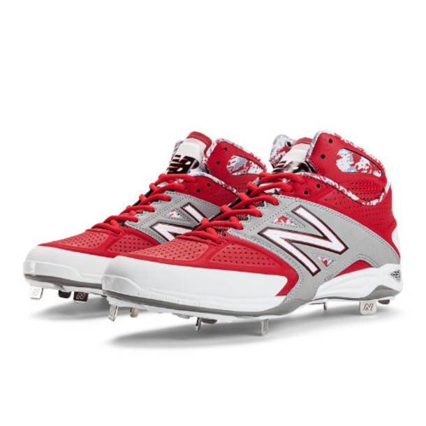 New Balance Mid-Cut 4040v2 Metal Cleat Men's Mid-Cut Cleats Shoes - Red, Grey, White (M4040GR2)