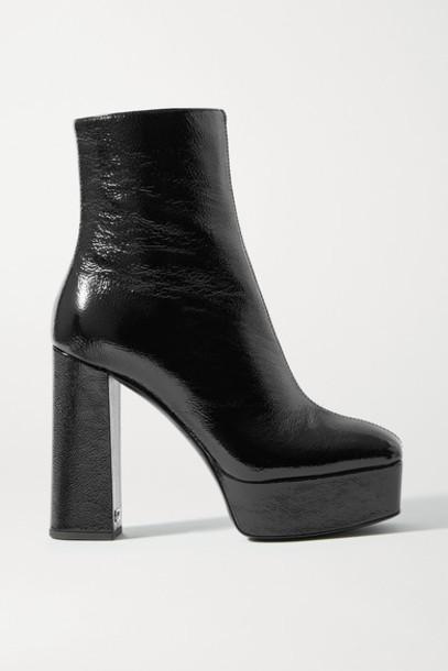 Giuseppe Zanotti - Rullino Crinkled Patent-leather Platform Ankle Boots - Black