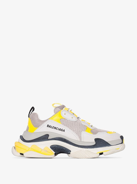 Balenciaga grey, white and yellow Triple S sneakers