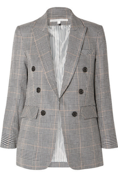 Veronica Beard - Bexley Dickey Prince Of Wales Checked Linen And Cotton-blend Blazer - Navy