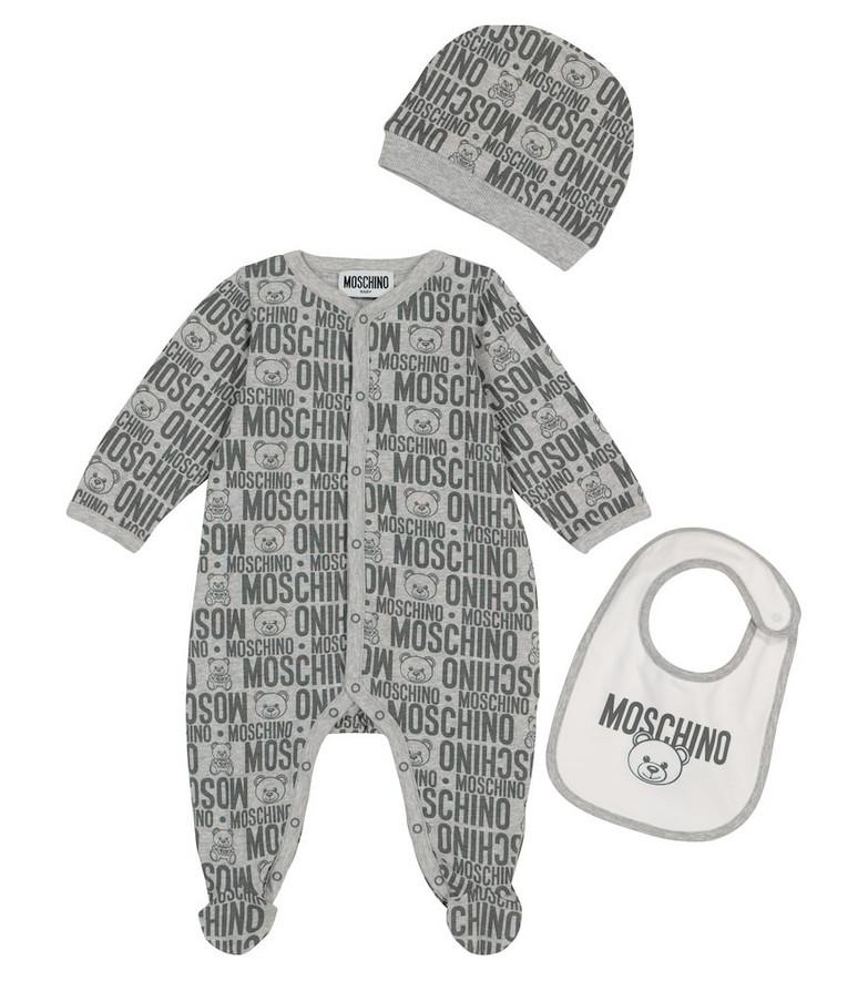 Moschino Kids Baby stretch-cotton onesie, bib and hat set in grey