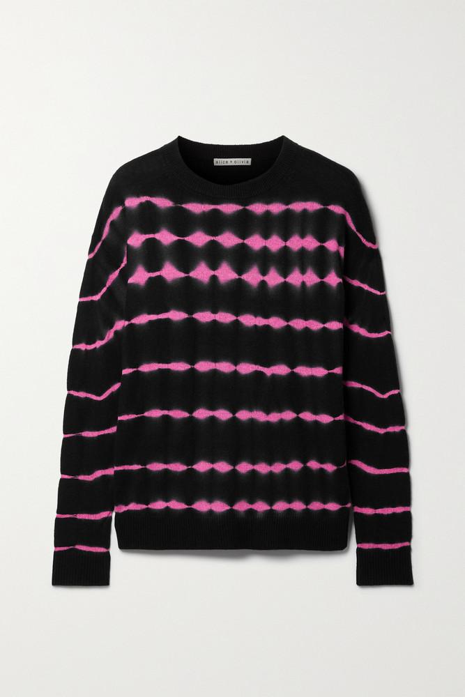 ALICE + OLIVIA ALICE + OLIVIA - Gleeson Tie-dyed Cashmere-blend Sweater - Black
