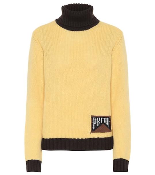 Prada Cashmere turtleneck sweater in yellow