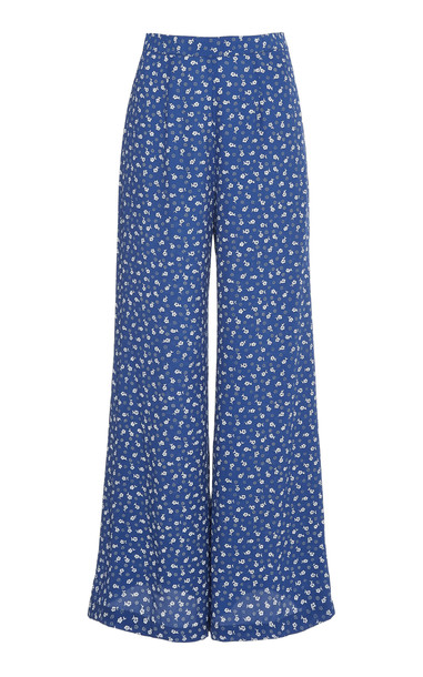 Faithfull The Brand Gabrielle high rise flare pants in blue