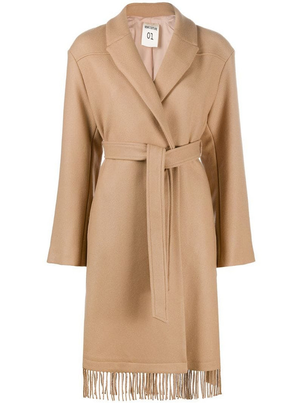 Semicouture fringed hem wrap coat in brown