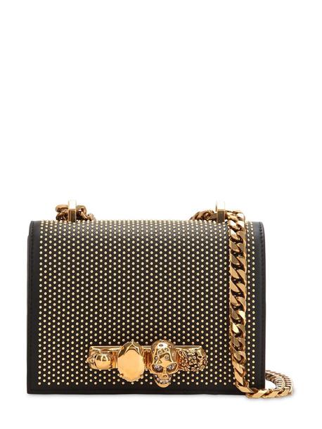 ALEXANDER MCQUEEN Embellished Leather Shoulder Bag in black